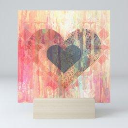 Vintage overlay heart Abstract Mini Art Print