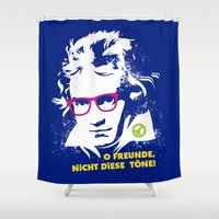 beethoven Shower Curtains featuring Beethoven Hippie by Maldita Novena