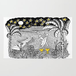 Beach Dancing under Stars Zentangle Style Rug