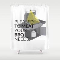 pun Shower Curtains featuring BBQ Pun by Robin Kurtz