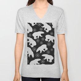 Polar Bears and Snowflakes - black Unisex V-Neck