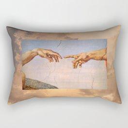 The Creation of Adam Michelangelo Cloudscape Hands Rectangular Pillow
