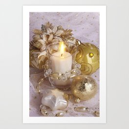 Golden christmas ball Art Print