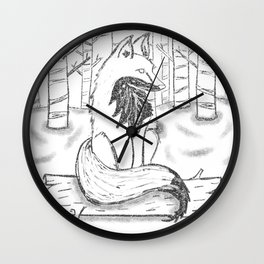 FOX black and white Wall Clock