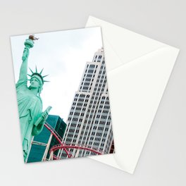 New York New York Big Apple rollercoaster & Statue of Liberty | Las Vegas | USA travel photography Stationery Cards