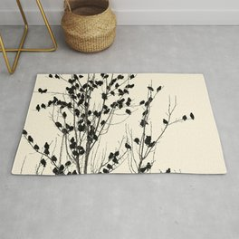 Simple  ivory black tree branches cute birds Rug