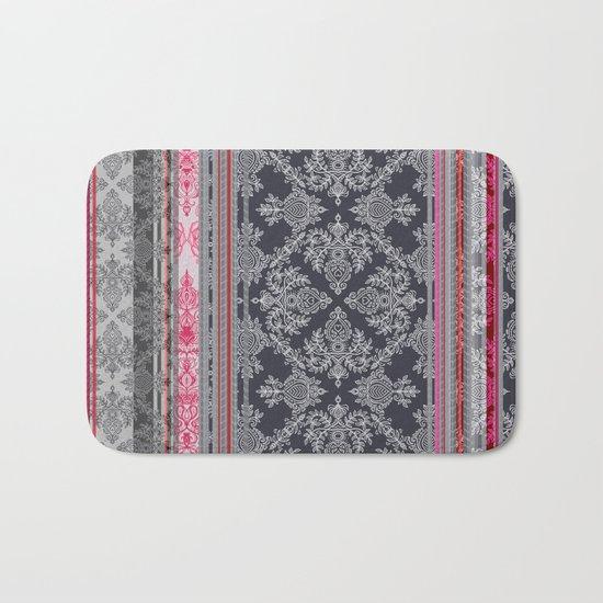 Burgundy, Pink, Navy & Grey Vintage Bohemian Wallpaper Bath Mat