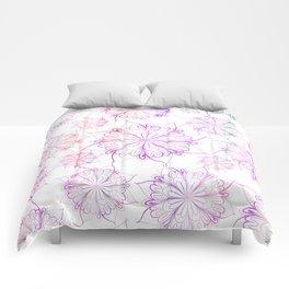 Hand painted pink lilac watercolor floral mandala Comforters