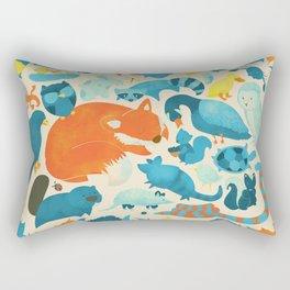 Wildlife Collage Woodland Creatures and Cute Animals Rectangular Pillow
