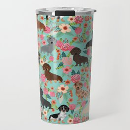 Dachshund floral dog breed pet patterns doxie dachsie gifts must haves Travel Mug