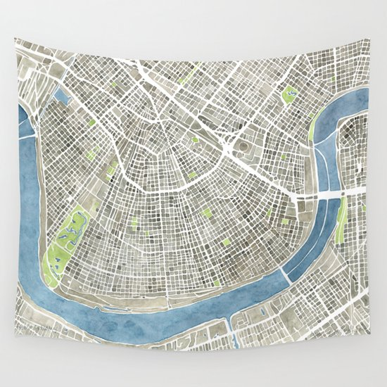 New Orleans City Map Wall Tapestry