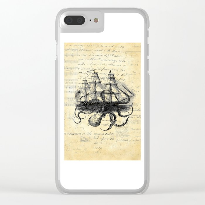 Kraken Octopus Attacking Ship Multi Collage Background Clear iPhone Case