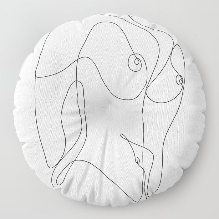 Minimal Line Art One Line Female Figure II Floor Pillow