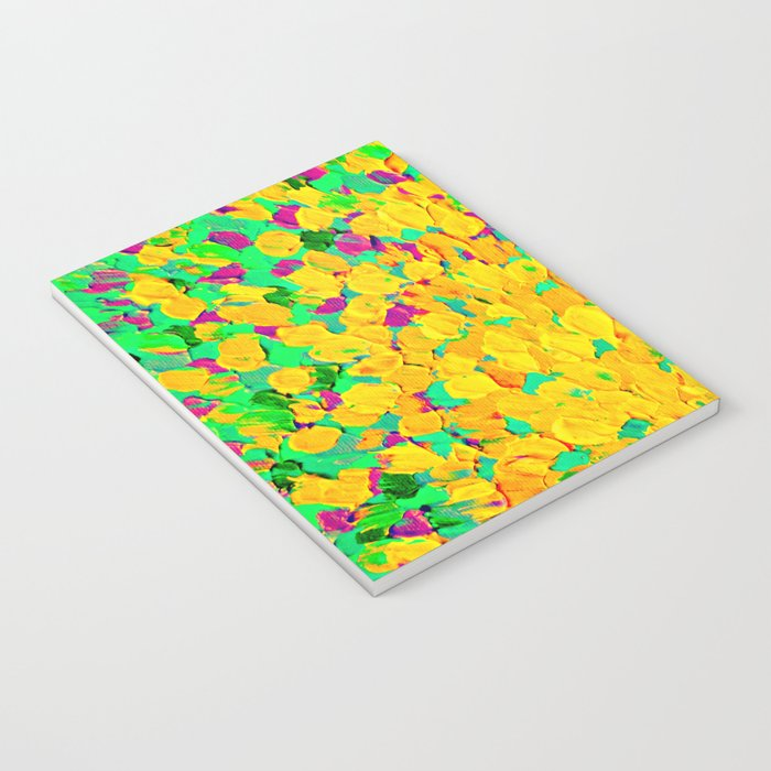 SPRING SPLASH - Bright Cheerful Lime Sunshine Yellow Lavender Lilac Purple Ocean Beach Waves Notebook