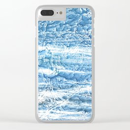 Steel blue nebulous watercolor texture Clear iPhone Case