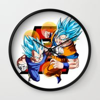 dbz Wall Clocks featuring DBZ - Vegeta & Goku SSJ God II by Mr. Stonebanks