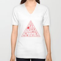 pyramid V-neck T-shirts featuring Food Pyramid by Kimiaki Yaegashi