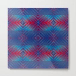 Dark Blue Red Boho Pattern Metal Print