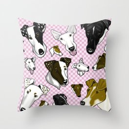 Smooth Fox Terrier Pink Plaids Throw Pillow