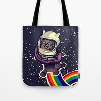 space cat Tote Bags featuring space cat by Jimi Grey