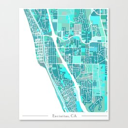 Encinitas California Map Canvas Print