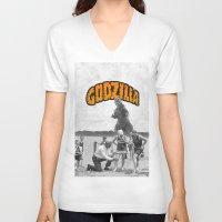 godzilla V-neck T-shirts featuring godzilla  by sr casetin