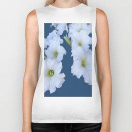 White Garden Petunia Flowers On Blue Art Biker Tank