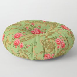 Vintage Floral Wallpaper with Roses Floor Pillow
