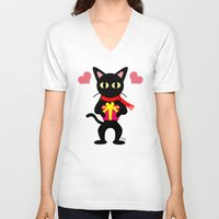 xmas V-neck T-shirts featuring Happy Xmas by BATKEI
