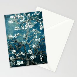 Van Gogh Almond Blossoms : Dark Teal Stationery Cards