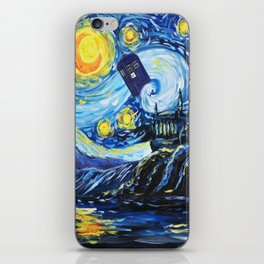 Tardis Flying Starry Castle Night iPhone Skin