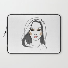 Asian woman with long hair. Abstract face. Fashion illustration Laptop Sleeve