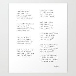 Crying Poem Art Print