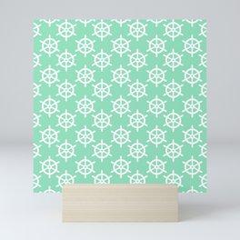 Ship Wheel (White & Mint Pattern) Mini Art Print