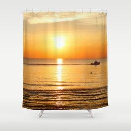 Yellow Sunset Ocean Shower Curtain