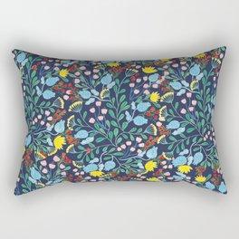 Floral Garden - Blue Rectangular Pillow