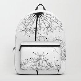 Black And White Dandelion Sketch Backpack