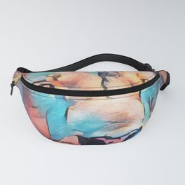 Colorful Lion Full Mane Surrounded by Flowers Fanny Pack