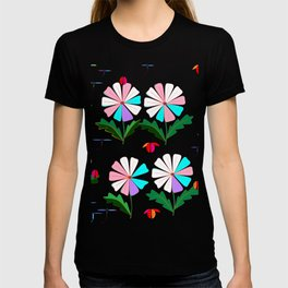 Many Colored Daisies with Ladybugs and Dragonflies T-shirt