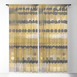 HONEY bright gold and black abstract honeycomb design Sheer Curtain