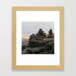 Rock balancing Framed Art Print