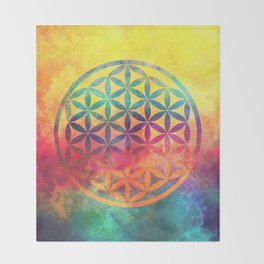 Rainbow Flower Of Life Throw Blanket