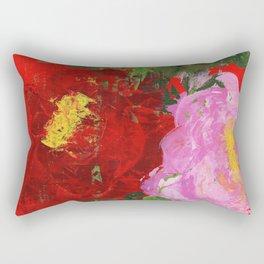 Red and Pink Peonies Rectangular Pillow