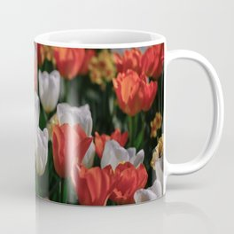Colorful White and Orange Tulip Carpet Coffee Mug