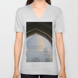 First View of Taj Mahal through the Morning Mist Unisex V-Neck
