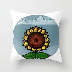kitschy sunflower Throw Pillow