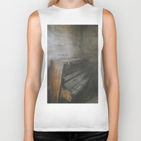 piano Biker Tanks featuring Piano by Claudia Ma