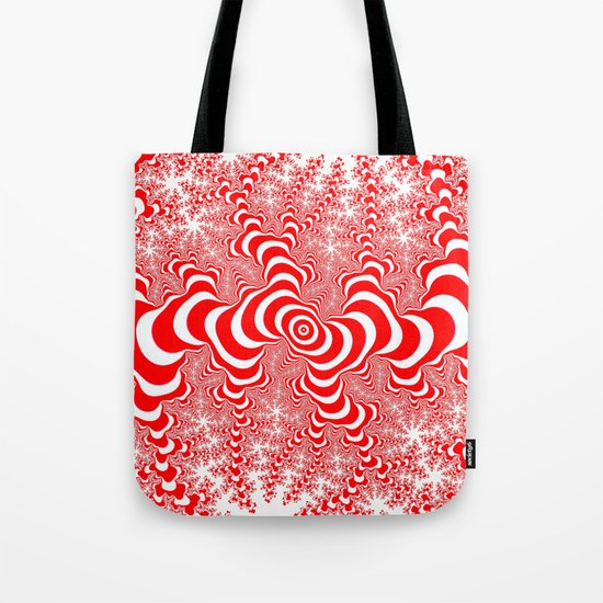 red and white fractal Tote Bag