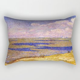 Barrier Beach and Salt Ponds, Summer seaside ocean landscape painting by Theo Van Rysselberghe Rectangular Pillow