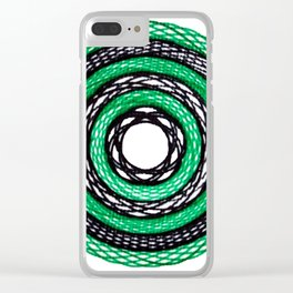 Green & Black spiro within a spiro Clear iPhone Case